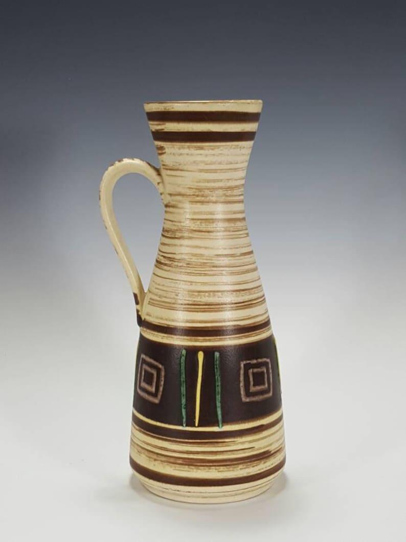 Mid Century Vintage Vase West German Pottery Fat Lava Vase JASBA KERAMIK White Green Yellow Ceramic Handled Pitcher Vase 244-25