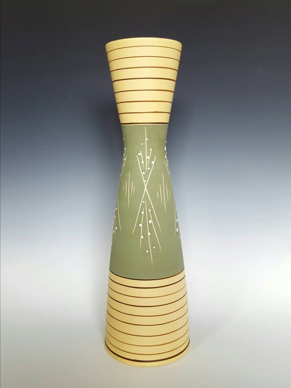 Retro 16 Tall Marzi Remy Green And Yellow Vase Etsy