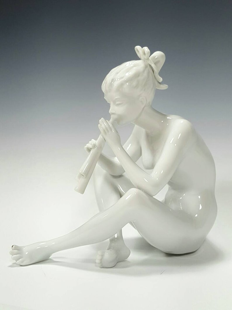 Kaiser Germany Bisque Porcelain Figurine Nude Playing Flute   Keiser nude  woman, German Female Figure