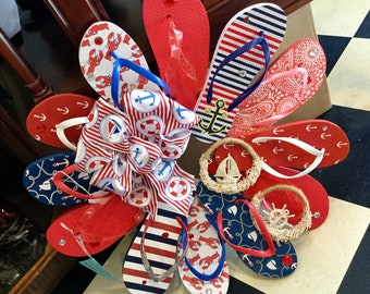 RWB Nautical Flip Flop Wreath