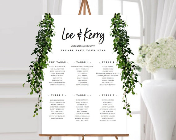 DIY PRINTABLE elegant seating plan, EDIT yourself wedding table plan, script font, simplistic, minimalistic wedding seat chart, personalise