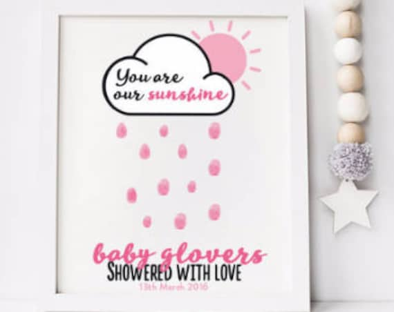 A3 PRINT OUT PERSONALISED Baby Shower Thumb print Guestbook poster - You are our sunshine, showered with love fingerprint personalized