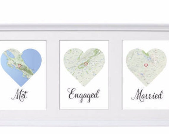 PRINTS Met, Engaged, Married Personalised map love story Engagement, Anniversary, Wedding gift for Couples, gift for couple, bridal shower.