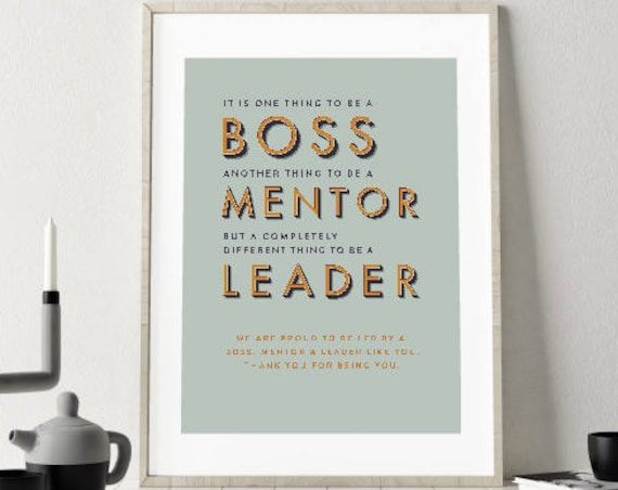 DIY PRINTABLE Boss leaving gift, Digital Download Print, goodbye, boss, mentor, leader. Retirement gift frame, sorry you're leaving, retired