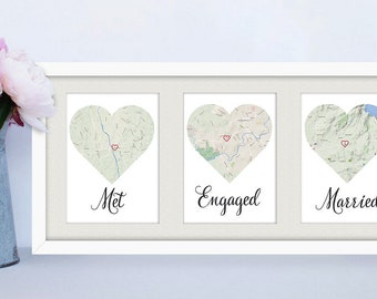 FRAMED Met, Engaged, Married / Personalised map love story Engagement / Anniversary / Wedding gift for Couple
