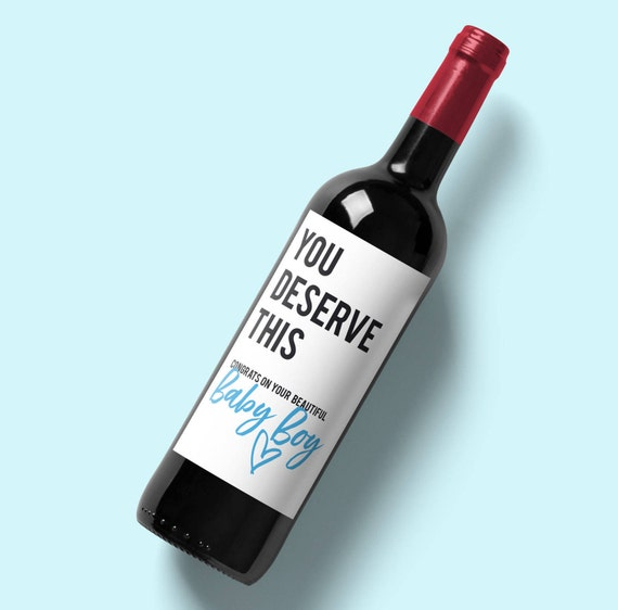 New Mum Gift Wine Label / you deserve this congratulations on your beautiful baby girl/boy / new mom wine sticker gift / wine sticker