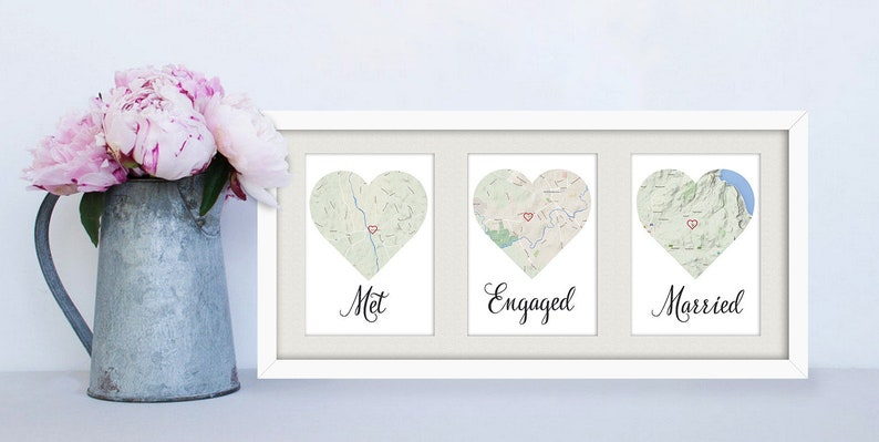 FRAMED Met Engaged Married / Personalised map love story image 0