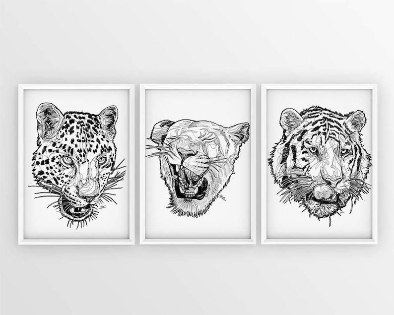 Set Di Tre Gatti Selvatici Leonessa Drawing Disegno Etsy
