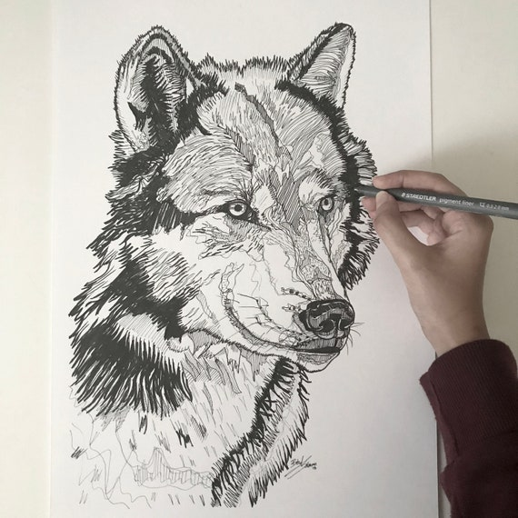 Original Wolf Line Drawing Abstract Pen Art Black And White Illustration Wall Decor Home Art Winter Drawing Cosy Gift Christmas Gift