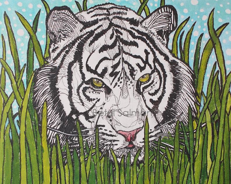2f2ca0f63d473 White tiger in grass painting illustration // original art // | Etsy
