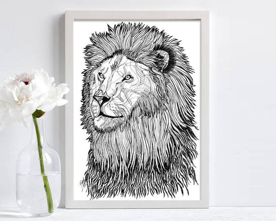 Abstract Lion Line Drawing Print Black Pen Drawing Hand Drawing Black And White Animal Lovers Paper Print A4 Size