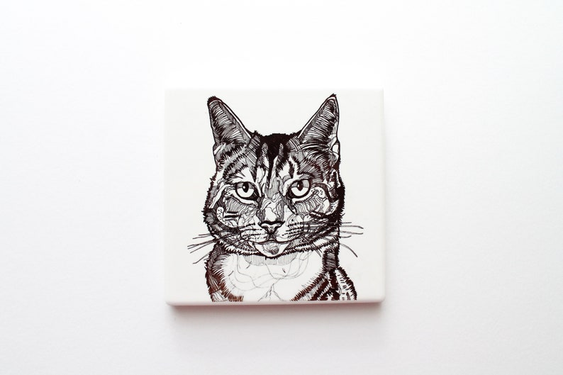 mother/'s day gift coffee lover cat illustration heat press Cat coaster home decor homewarming gift ceramic coaster cat line drawing