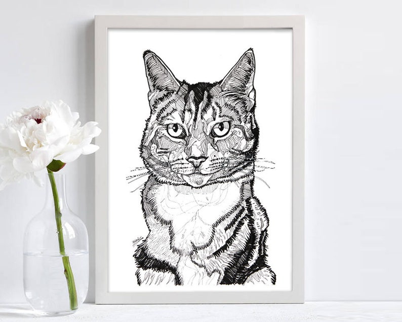 Imprimer Dessin De Chat Dessin Dessin De Chat Art Mural Décoration Cadeau Pour Chat Amateur Noir Et Blanc Abstrait A3 A4 A5 Imprimé