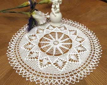 White Crochet Doily Hand Crocheted Items Crochet Napkin Lace Doilies Round Tablecloth Vintage Rustic Table Decor Gift Christmas Wife