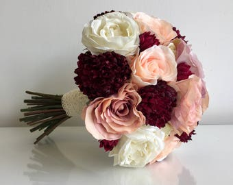 Dusky pink & burgundy brides bouquet