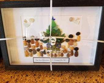 Reserved for lindamomone.  ...Sea glass art, Christmas Family gift,  Framed sea glass art, sea glass Christmas tree,  framed Christmas tree