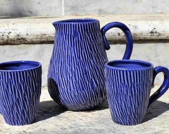 Handmade pottery set Handmade pottery jug Handmade pottery mugs ceramic jug ceramic mugs blue jug blue mug Handmade stoneware pottery