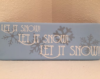 Let It Snow - winter decor wood sign holiday wall hanging