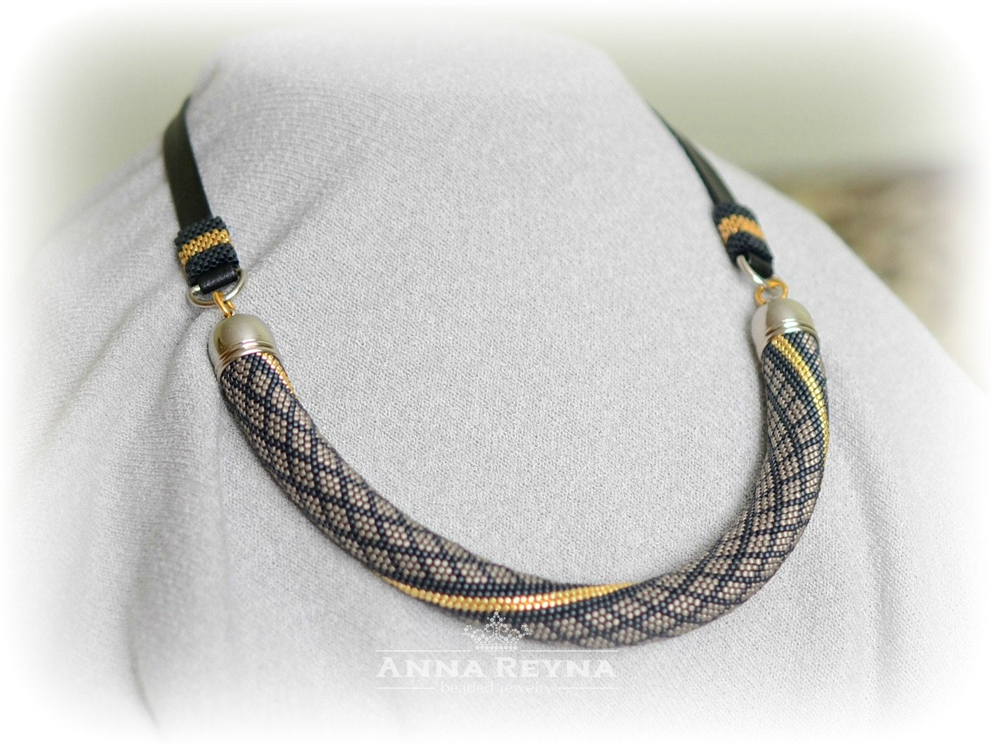 Rope bead necklace Bead Crochet Necklace Choker bead crochet Geometric bead necklace Rope bead crochet necklace Bead crochet rope