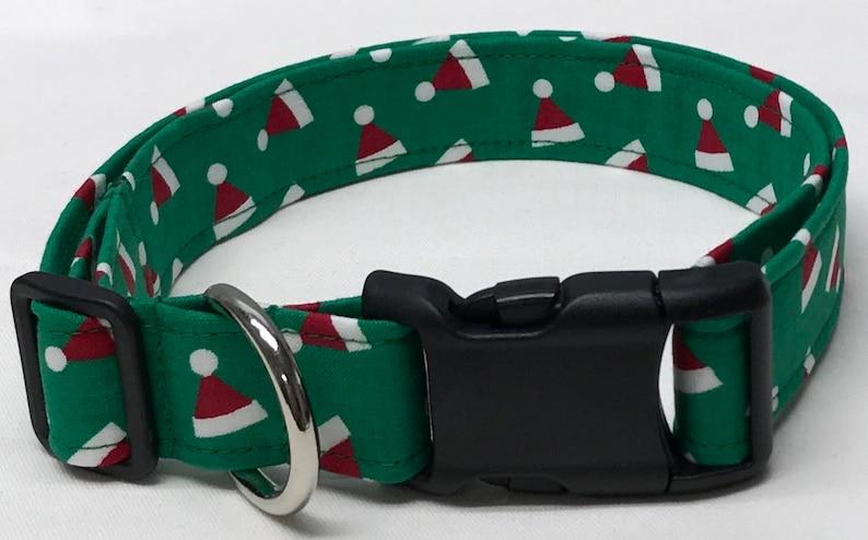 8d4ece2f28635 Dog collar green Santa hats Christmas Christmas dog collar