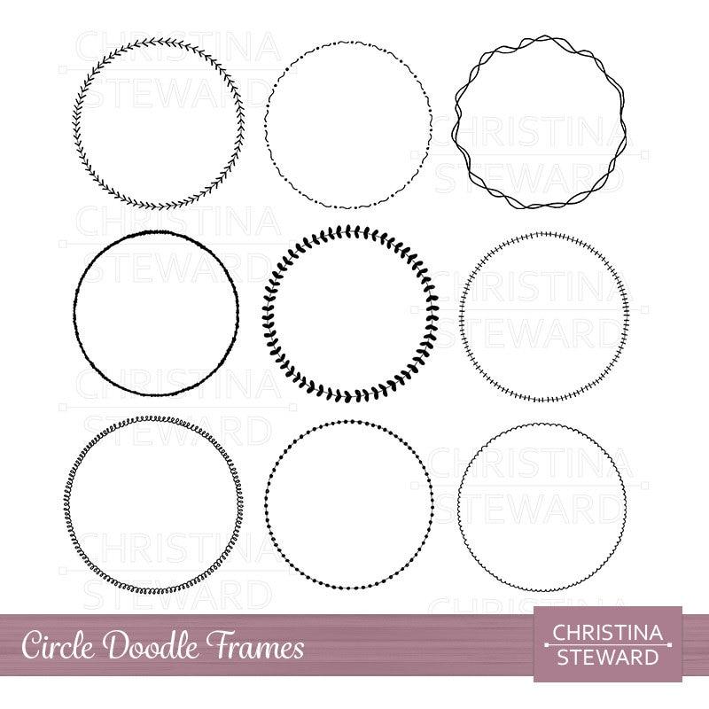 Kreis Rahmen ClipArt Rahmen ClipArt Doodle ClipArt Clipart | Etsy
