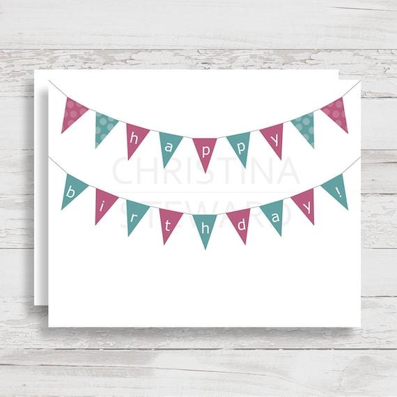Tarjeta de feliz cumpleaños para imprimir con colores púrpura | Etsy