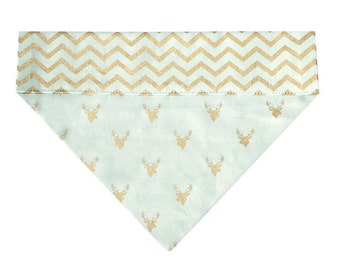 Dog Bandana, Puppy Bandana, Pet Bandanna, Dog Scarf / Mint + Gold, Chevron + Deer