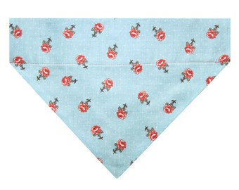 Dog Bandana, Over the Collar Bandana, Slip On Dog Bandana / Aqua Sky Blue Cottage Rose