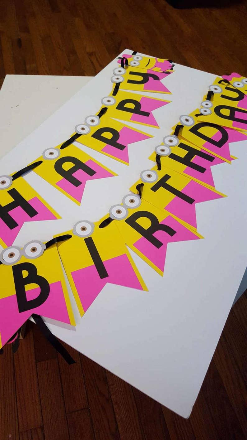 Minion Girl Banner Minion Girl Birthday Party-Minion Girl Decorations Birthday Minion Girl-Minion Girl Party Decor Minion Girl Party