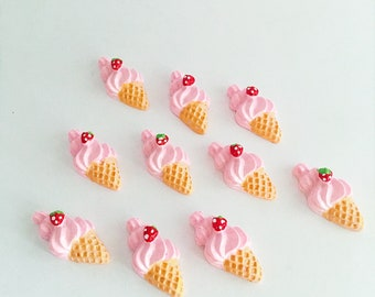 Ice cream cone flatback, ice cream cabochon, ice cream bow centre, hairbow supplies, resin flatbacks