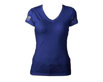 db494665 Solid Blue Grunt Style Ladies Tee