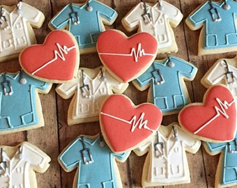 Doctor and nurse cookies/graduation gift/ gift for a doctor/ gift for nurse/ medical school graduation/ nursing school graduation/1 dozen