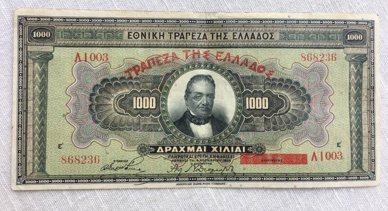 1926 1000 Drachma Greece Greek Currency Large Banknote Note Money Bank Bill  Cash scan 236