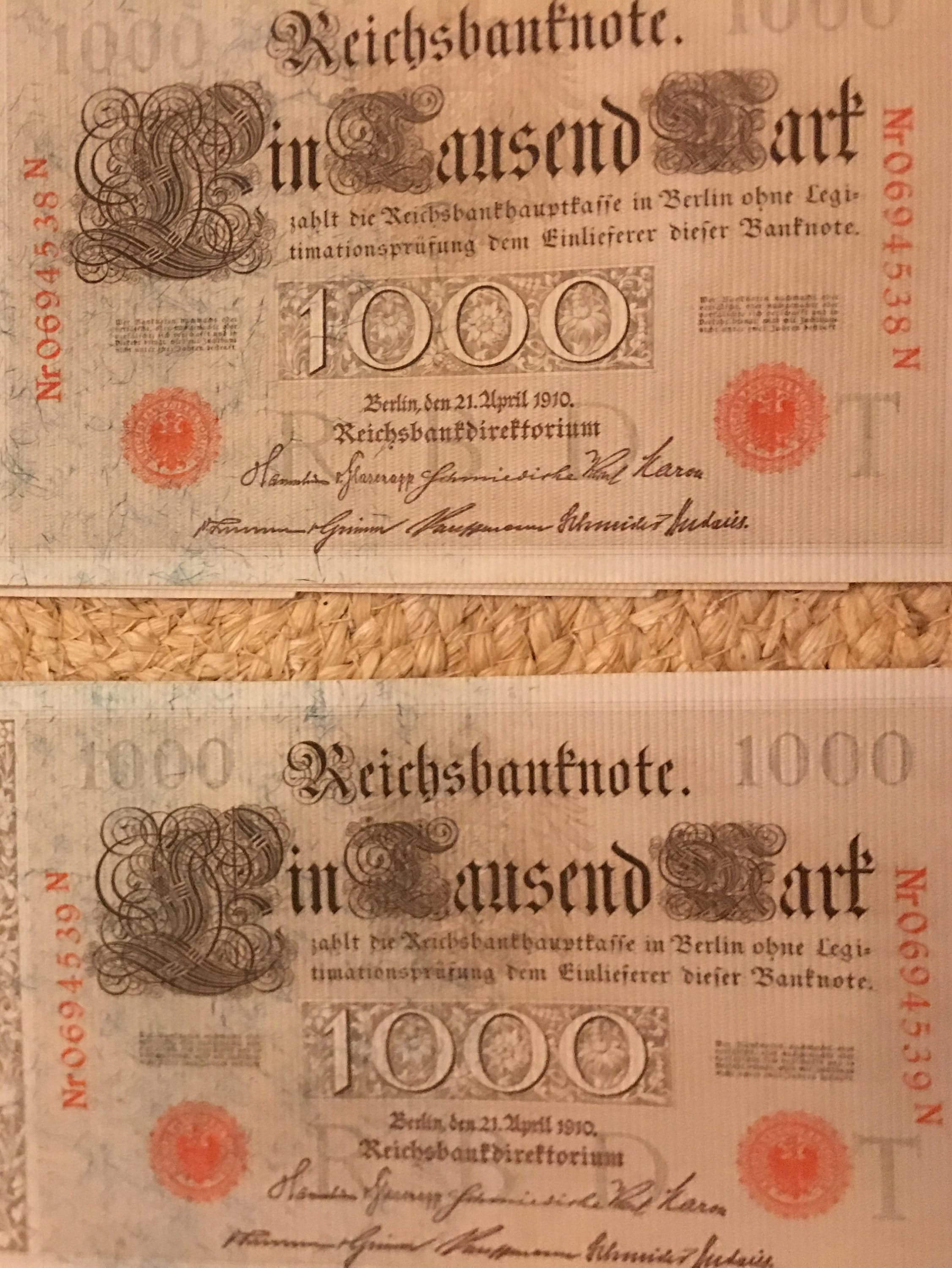 German Empire Huge 1000 Mark Banknote GREEN  SEAL 1910 Germany