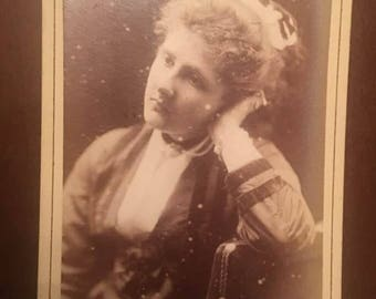 1800s Victorian Cabinet Card, girl photographed by Alexander bassano, 25,old bond st london