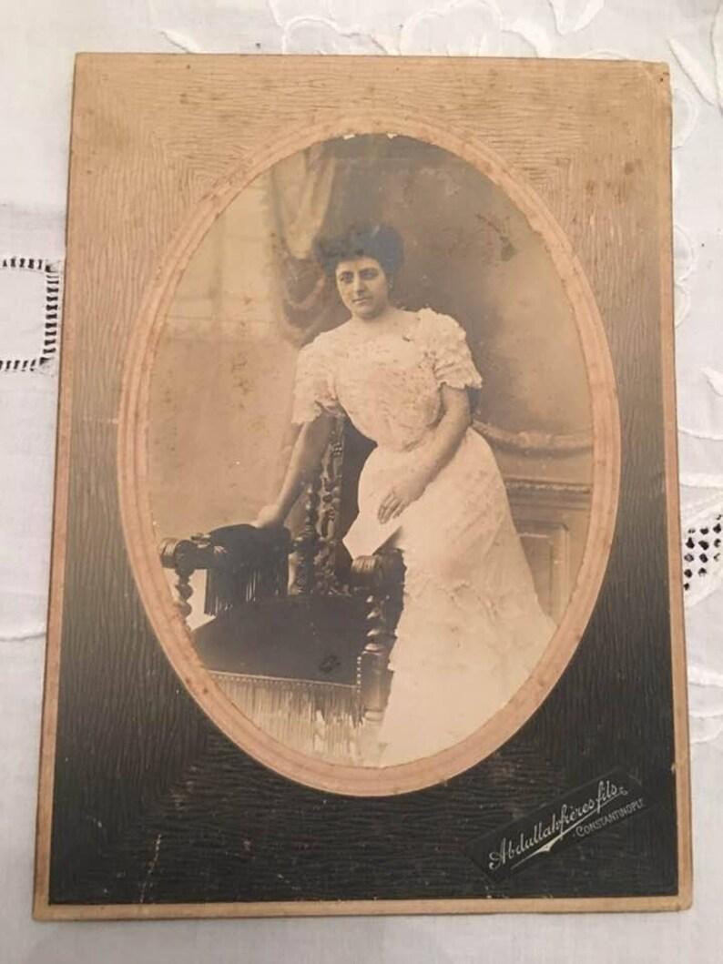 e920d689f725b Free shipping, 1890s Greek woman, Pera Constantinople Turkey, Cabinet Photo  Andriomenos, Rare