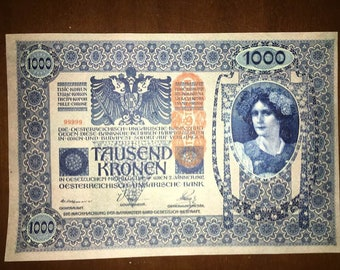 1902 Austria, Tausend Kronen, Banknotes 1000 Large, serie 1925, Very Rare