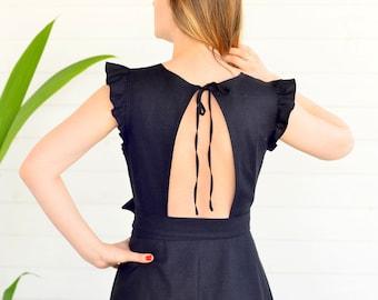 Iris dress, ready to ship, linen dress, prom wedding dress, summer dress, black dress, boho dress, romanic, wrap dress