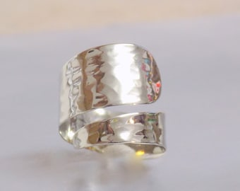 Sterling Silver Hammered Statment Ring - Silver 925 Minimalist ring cuff Wide Band