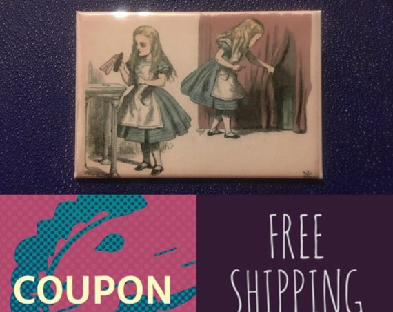 """Alice in Wonderland, Horizontal 2x3"""" Button Pin or Magnet, FREE SHIPPING"""