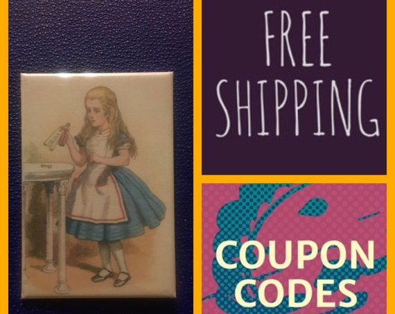 """Alice in Wonderland Drink Me 2x3"""" Vertical Button Pin or Magnet, FREE SHIPPING"""
