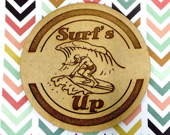 Drink Coasters - Surf's Up Surfer Wood Drink Coaster Set Home Decor Unique Gifts Housewarming Gift