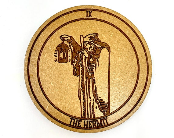 Tarot 09 - The Hermit - Drink Coaster Set, FREE SHIPPING