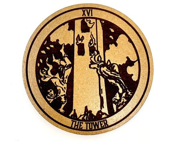 Tarot 16 - The Tower - Drink Coaster Set, FREE SHIPPING