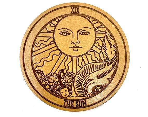 Drink Coasters - Tarot 19  The Sun Wood Drink Coaster Set Home Decor Unique Gifts Housewarming Gift
