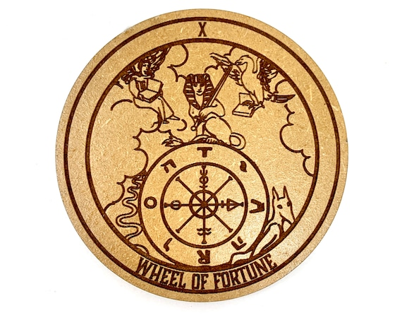 Tarot 10 - Wheel of Fortune - Drink Coaster Set, FREE SHIPPING