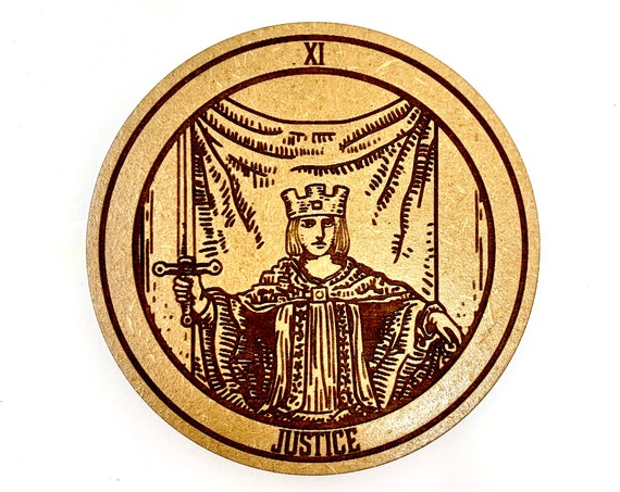 Tarot 11 - Justice - Drink Coaster Set, FREE SHIPPING