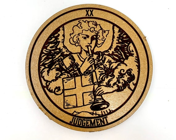 Drink Coasters - Tarot 20 Judgement Wood Drink Coaster Set Home Decor Unique Gifts Housewarming Gift