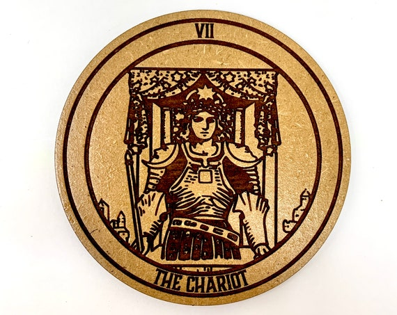 Tarot 07 - The Chariot - Drink Coaster Set, FREE SHIPPING