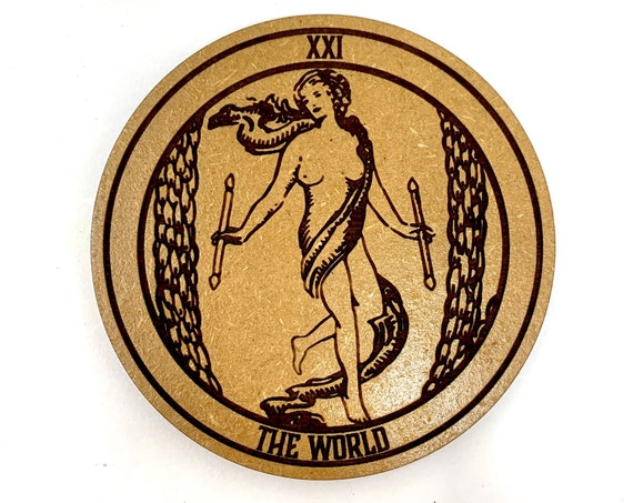 Drink Coasters - Tarot 21 The World Wood Drink Coaster Set Home Decor Unique Gifts Housewarming Gift